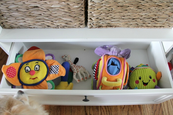 toy storage in living room