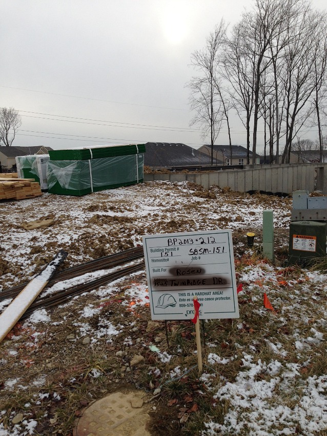 construction lot with foundation