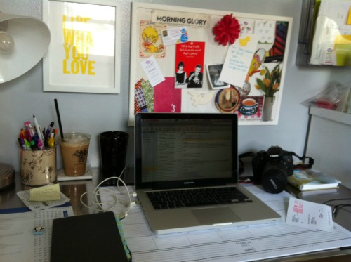 working at desk