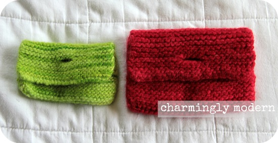 knitted felted pouches