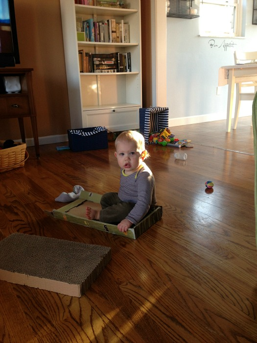 baby in cardboard