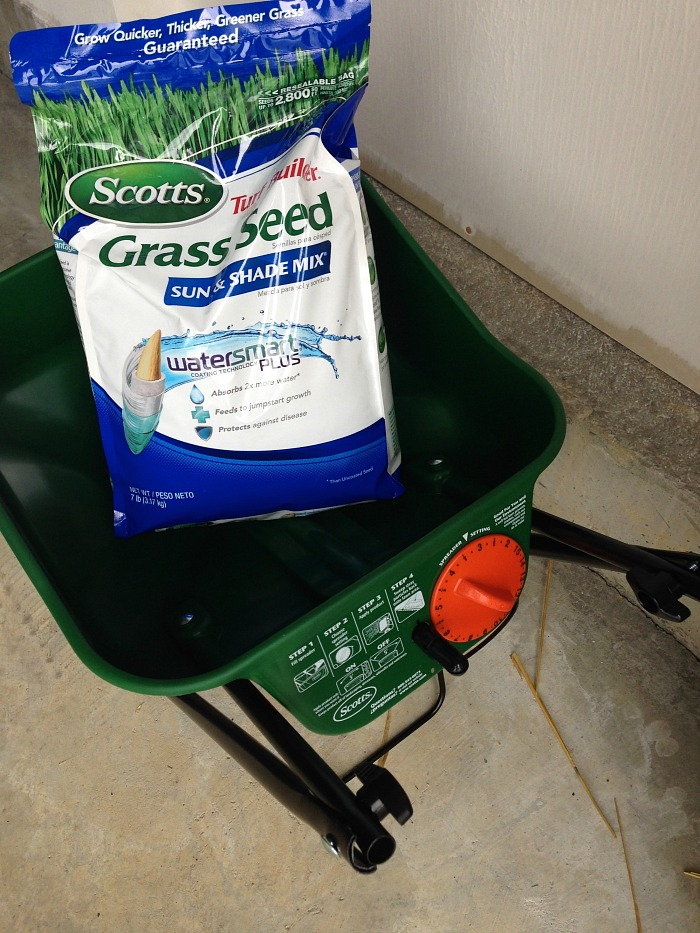 grass seed and grass seed spreader