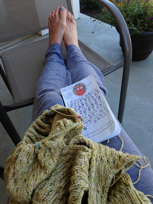 knitting on a porch