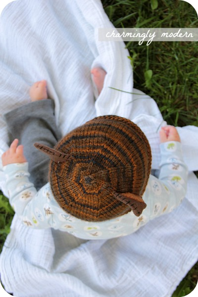 knitted bear baby hat