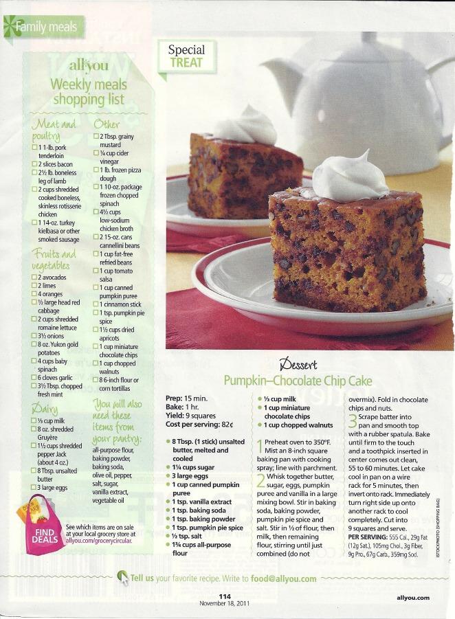 pumpkin chocolate chip cake recipe