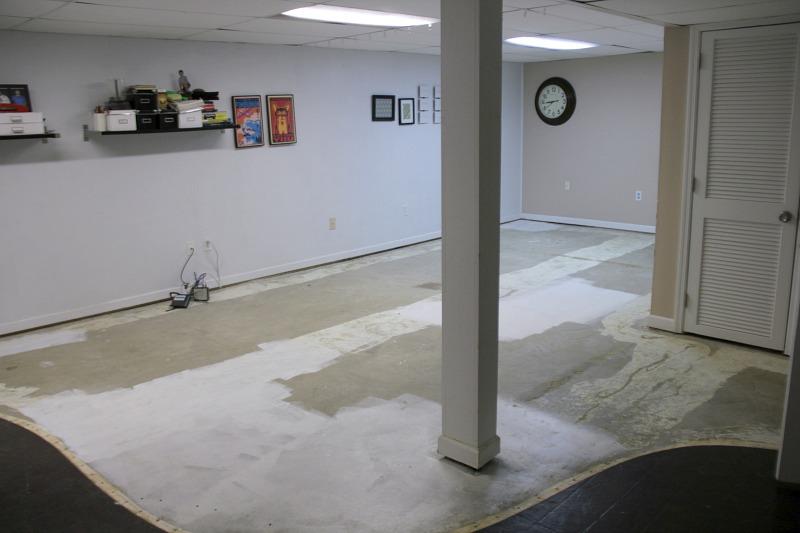 basement ripped up carpet