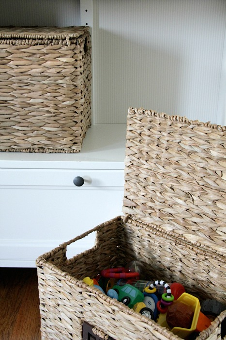 toy storage baskets in living room