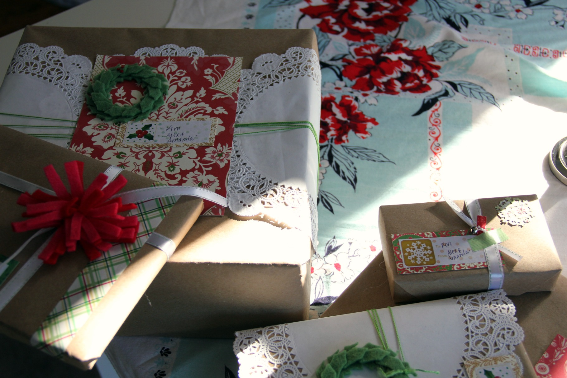 wrapped christmas presents
