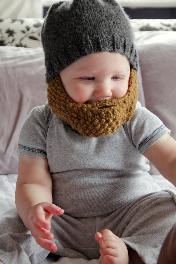 Soft fuzzy bearded hats are great gifts for babies knitted up in moss  stitch to give a subtle textured finish. 0c3f263ca24