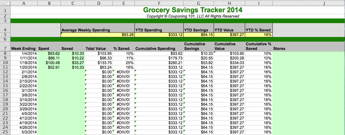 January 2014 grocery spending spreadsheet